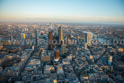 Aerial view of the City and Bank, London