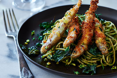 Fried Smelt & Greens over Pasta