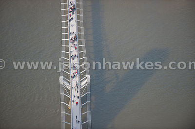Millennium footbridge aerial view