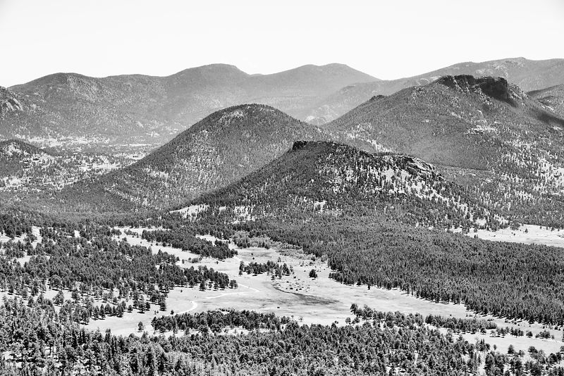 HIDDEN VALLEY CREEK HORSESHOE PARK ROCKY MOUNTAIN NATIONAL PARK COLORADO BLACK AND WHITE