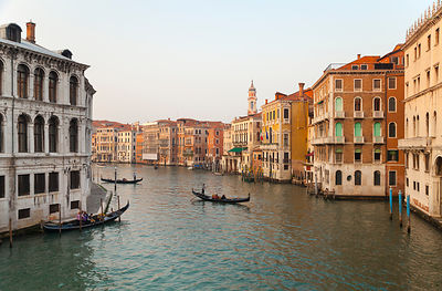 Italy, Venice, Gondolas on Canal Grande near Rialto Bridge