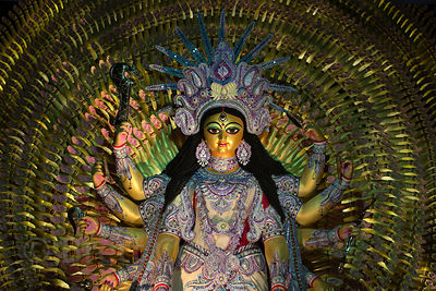 Brilliant shimmering Durga Idol during the Durga Puja festival, Hatkhola, Kolkata, India