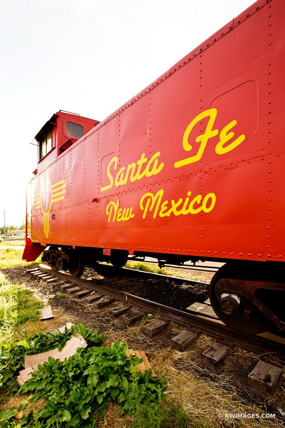 OLD RED CABOOSE SANTA FE NEW MEXICO VERTICAL