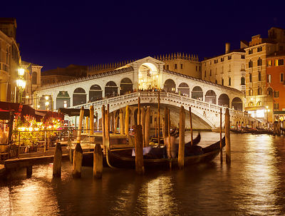 Italy, Venice, Gondolas on Canal Grande at Rialto bridge