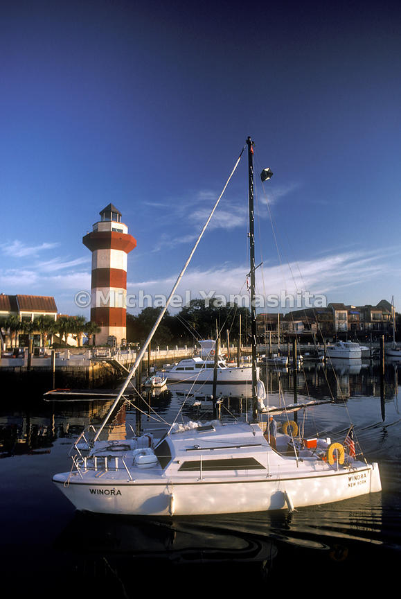 Boats and the lighthouse on Hilton Head Island.