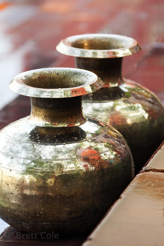 Metal vases used in Hindu rituals at Armenian Ghat, Kolkata, India.