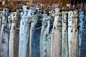 UK - London - Jeans in the vintage clothes shop Blitz on Hanbury Street. Spitalfields