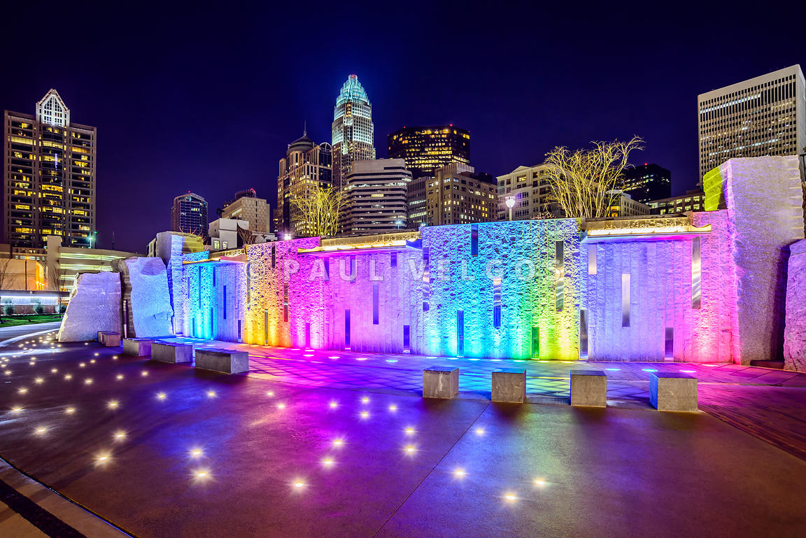 Charlotte Skyline at Night with Romare Bearden Park
