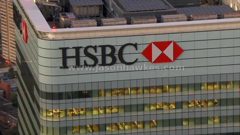 Aerial footage of HSBC Tower at dusk, London