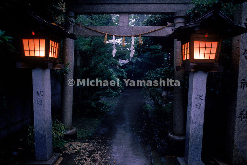 Path to a local shrine in Tohoku, Japan flanked by lanterns.