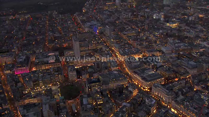 Aerial footage of Oxford Street at night, London