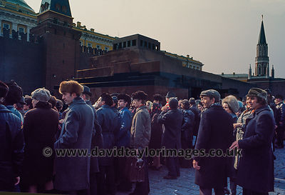 Russians pause to view the Changing of the Guard | Lenin Mausoleum Moscow | March 1976