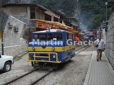 Railway engine transport at Aguas Calientes, Peru