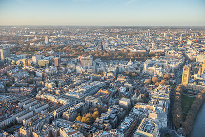 Aerial view of Westminster and Victoria, London. Victoria Tower Gardens. Home Office. Emmanuel Evangelical Church. Peabody Es...