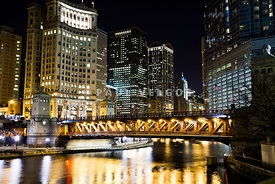 Chicago Dusable Michigan Avenue Bridge at Night