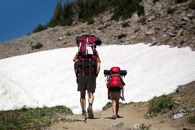 Father and son backpacking on the Wonderland Trail, Mount Rainier National Park, Washington