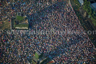 Aerial view of music event in Hyde Park, London