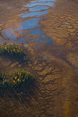 Aerial view of peat wetlands, Laponia / Lappland , Finland