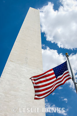Washington Monument and Flag