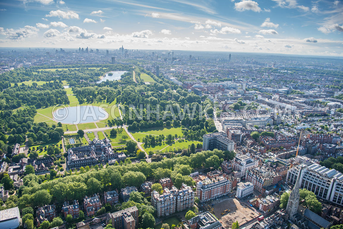 Aerial View of London Kensington Palace and Round Pond