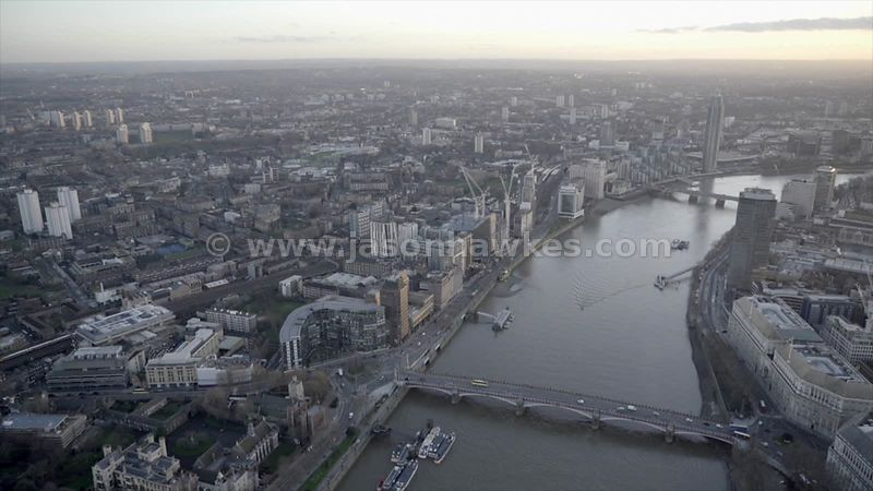 Aerial footage of Vauxhall and Lambeth