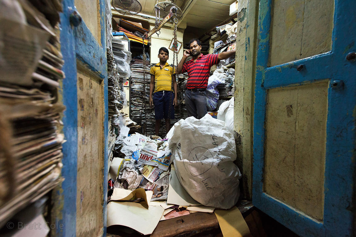 A father and son paper recycling operation in Bowbazar, Kolkata, India.