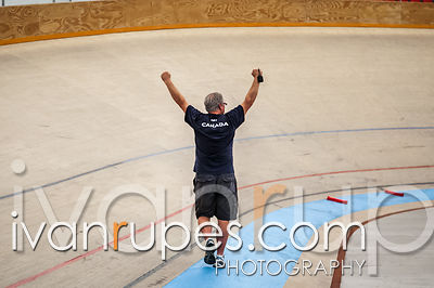Coach Rob Good celebrating a victory for Canada in women's team pursuit at the 2013 UCI Junior Pan American Track Championshi...