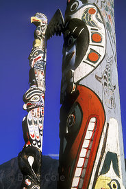 Re-creation of a traditional totem pole in Bella Coola. Great Bear Rainforest, Nuxalk Territory, British Columbia