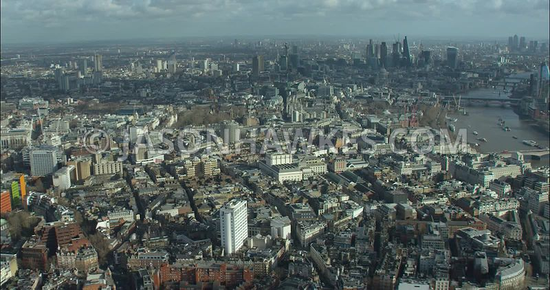 London Aerial footage, Covent Garden, towards St Giles.