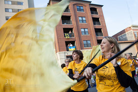 Members of the Alumni Band march in the University of Iowa homecoming Parade  on Washington St in Iowa City on Friday Septemb...