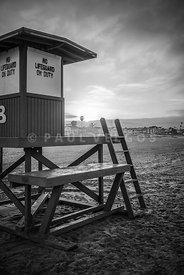 Black and White Photo of Newport Beach Lifeguard Tower B