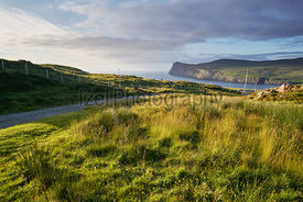 Sea cliffs overlooking Loch Pooltiel near Dunvegan on the Isle of Skye, Scotland, UK.