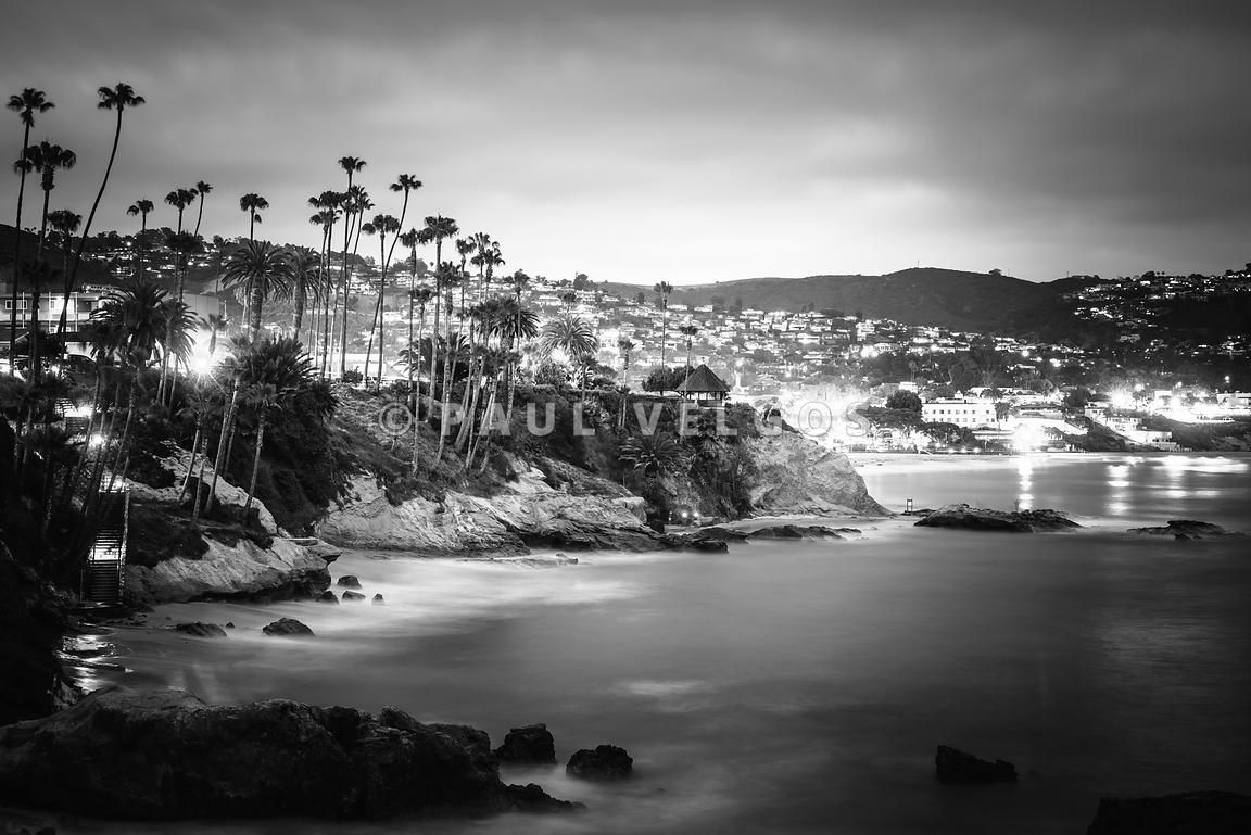 Laguna Beach at Night Black and White Picture