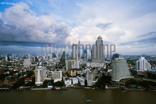 Bangkok Skyline and Chao Phraya River, Thailand