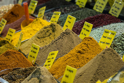 Piles of spices for sale in the spice market, Istanbul