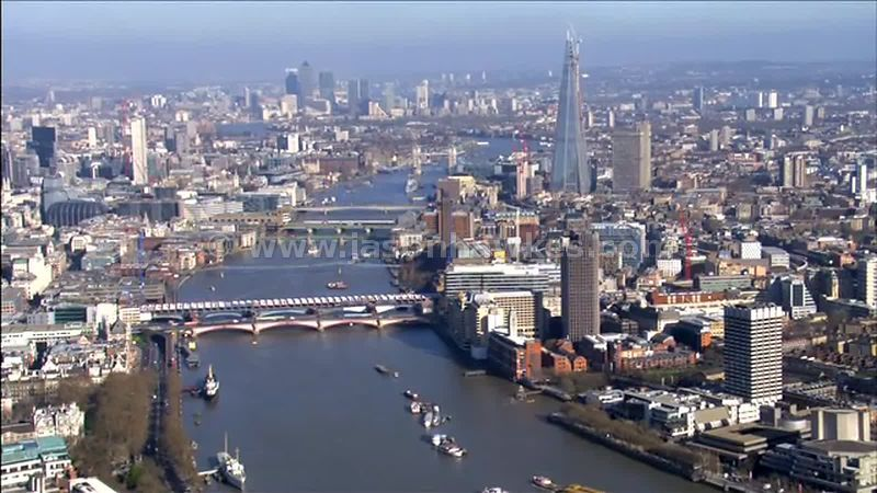 Aerial footage over the River Thames, London, England, UK