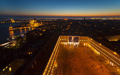 Italy, Venice, View of St Mark's Square from Campanile tower at dusk