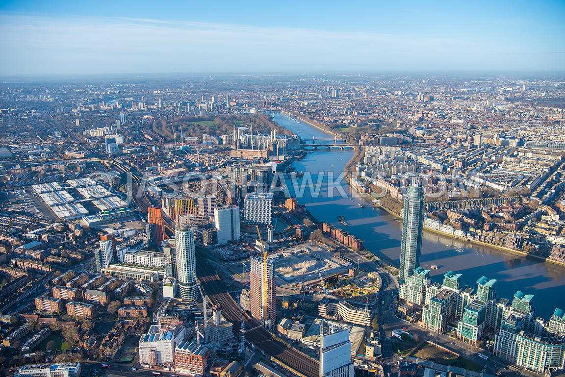 Aerial view of London, Nine Elms and Vauxhall redevelopment and construction.