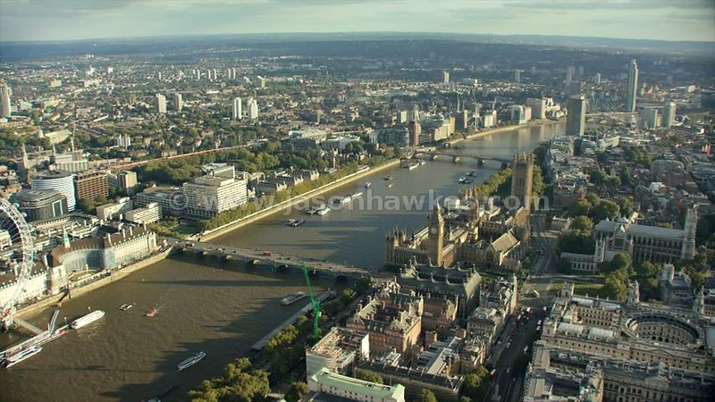 Aerial footage of the Houses of Parliament, London