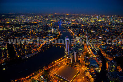 Aerial view of Nine Elms and Vauxhall at night, London