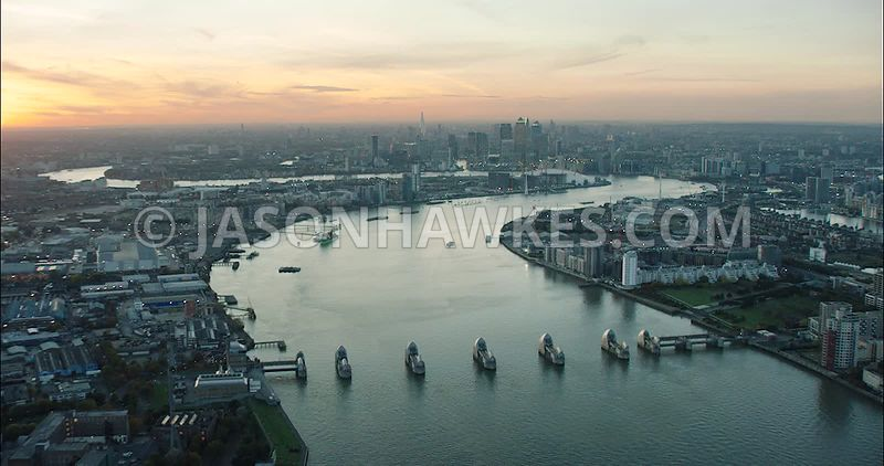 London Aerial Footage of Thames Barrier.