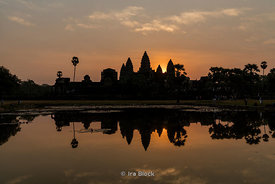 A view of Angkor Wat at dawn. Angkor Wat was built by the Khmer King Suryavarman II in the early 12th century in Siem Reap, C...