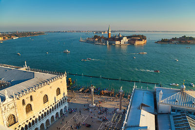 Italy, Venice, View of Canal Grande, San Giorgio Maggiore and church at St Mark's Square