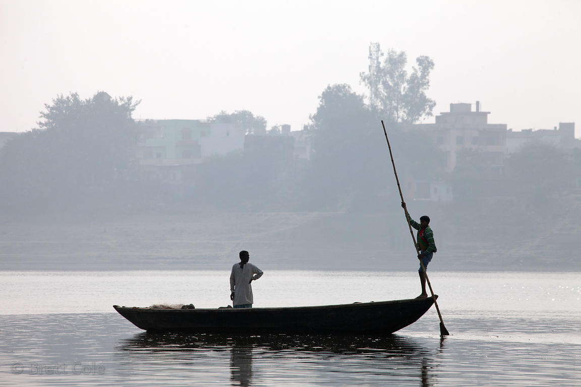 Boatman on the Ganges River near Ramnagar, Varanasi, India.
