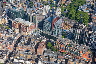 Aerial view of London of construction at Paddington Basin