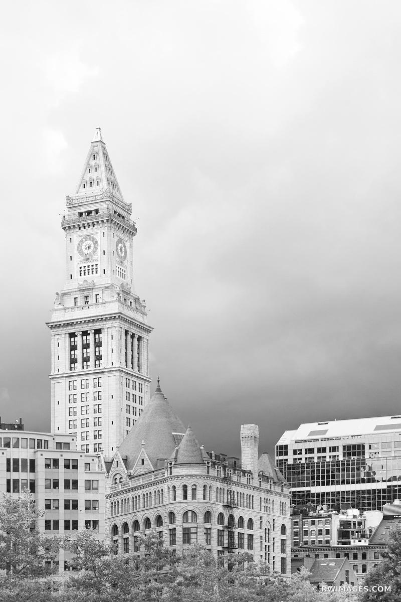 CUSTOM HOUSE TOWER DOWNTOWN BOSTON BLACK AND WHITE VERTICAL