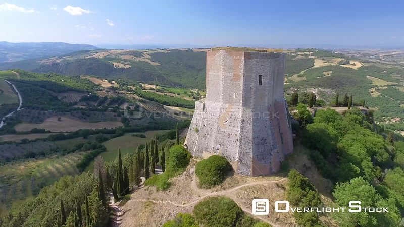 Castiglione D'Orcia, Tuscany. Aerial view of Medieval Tower. Italy