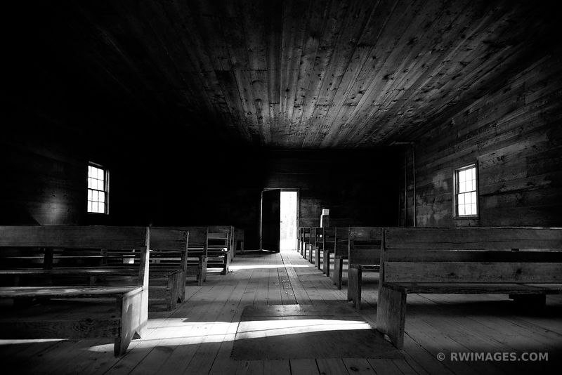 OPEN DOOR OLD CHURCH CADES COVE SMOKY MOUNTAINS BLACK AND WHITE