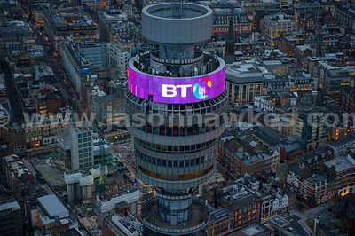 Aerial close up view of the BT Tower in Fitzrovia, London