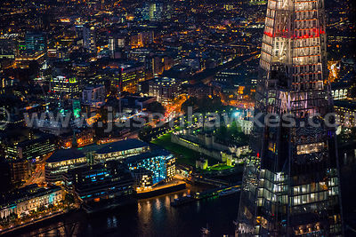 Aerial view of people up The Shard, London